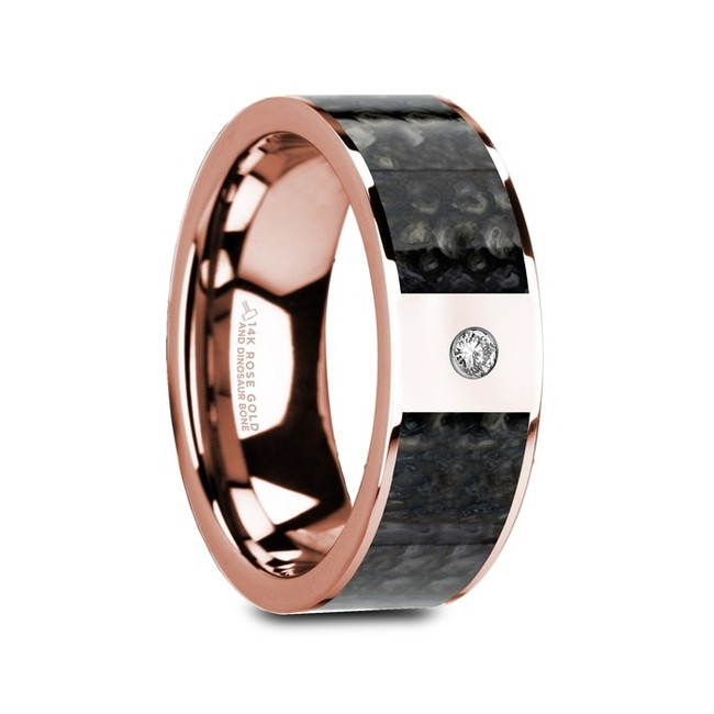 Caunus Flat Polished 14K Rose Gold Ring with Blue Dinosaur Bone Inlay & White Diamond from Vansweden Jewelers