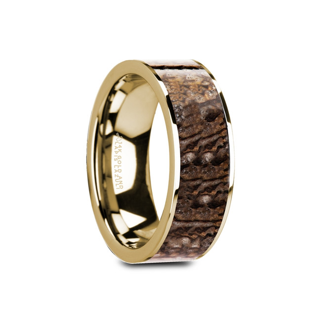 Perileos Polished 14K Yellow Gold Flat Men's Wedding Band with Brown Dinosaur Bone Inlay from Vansweden Jewelers