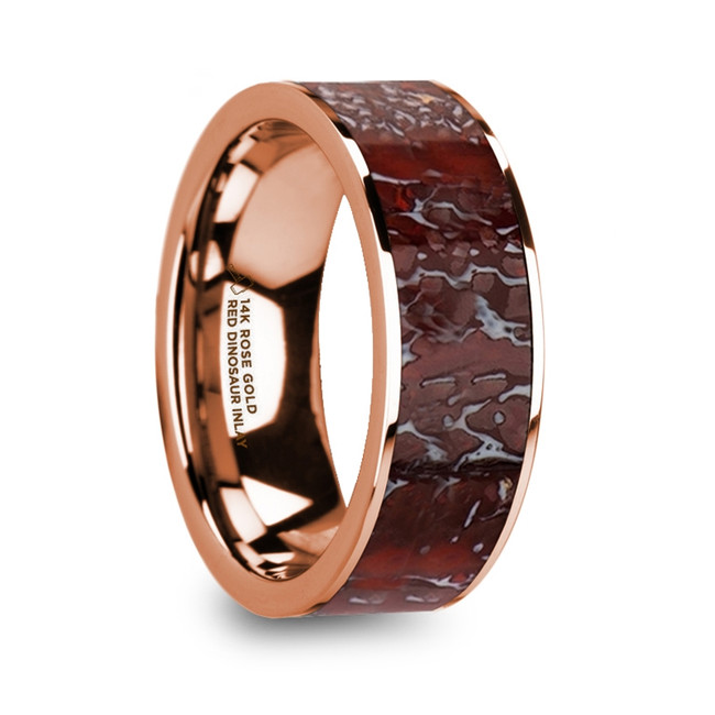 Halaesus Flat Polished 14K Rose Gold Ring with Red Dinosaur Bone Inlay and Polished Edges from Vansweden Jewelers