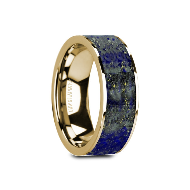 Mysius Flat Polished 14K Yellow Gold Ring with Blue Lapis Lazuli Inlay from Vansweden Jewelers