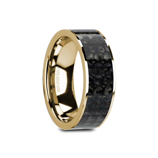 Peneleos Flat 14K Yellow Gold Ring with Blue Dinosaur Bone Inlay from Vansweden Jewelers