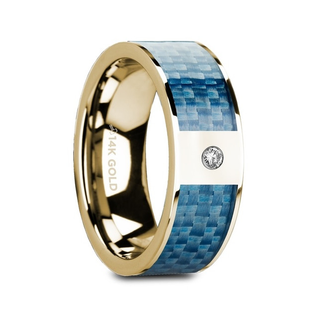 Laonome Flat Polished 14K Yellow Gold Ring with Blue Carbon Fiber Inlay & White Diamond from Vansweden Jewelers
