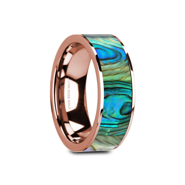 Nyctimus Flat 14K Rose Gold Wedding Band with Mother of Pearl Inlay from Vansweden Jewelers