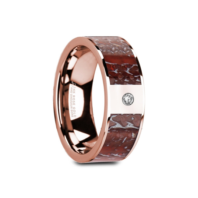 Zarex Flat Polished 14K Rose Gold Ring with Red Dinosaur Bone Inlay with White Diamond from Vansweden Jewelers