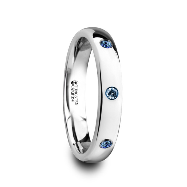 Proclia Polished and Domed Tungsten Carbide Wedding Ring with 3 Blue Sapphires from Vansweden Jewelers