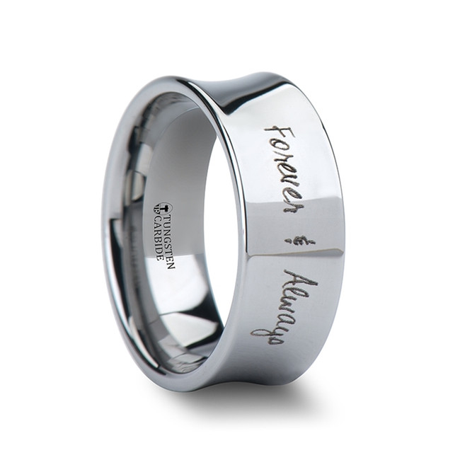 Munichus Handwritten Engraved Concave Tungsten Ring from Vansweden Jewelers