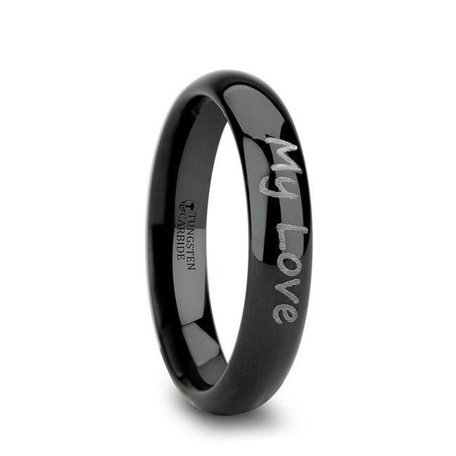 Aegialeus Handwritten Engraved Domed Black Tungsten Ring from Vansweden Jewelers