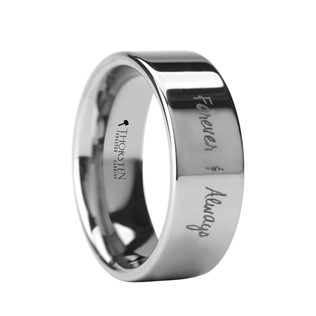 Harpalycus Handwritten Engraved Flat Pipe Cut Polished Tungsten Ring from Vansweden Jewelers