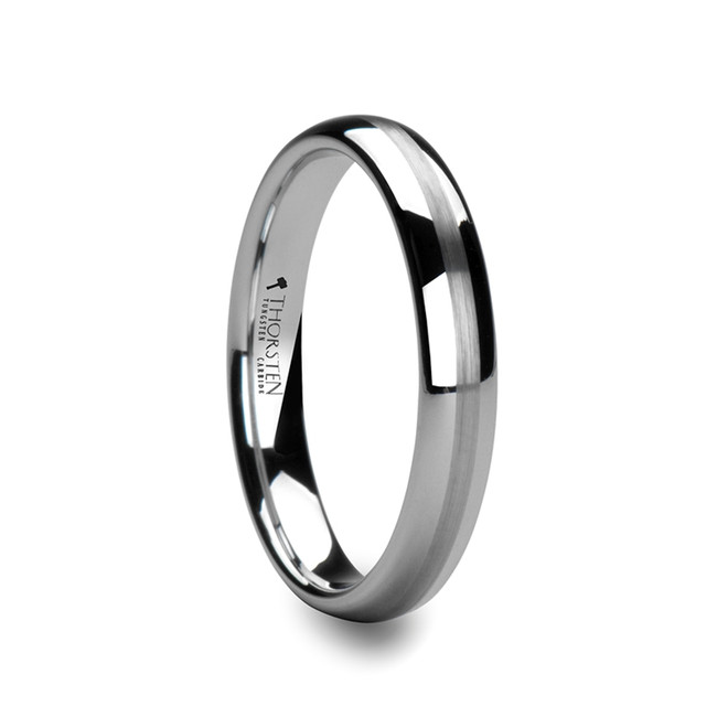 Penthilus Round White Tungsten Carbide Ring with Satin Stripe from Vansweden Jewelers