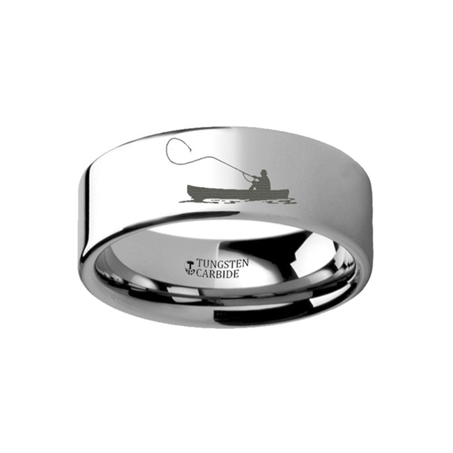 Iodame Landscape Scene with Fishing Boat and Fishermen Engraved Flat Tungsten Ring from Vansweden Jewelers