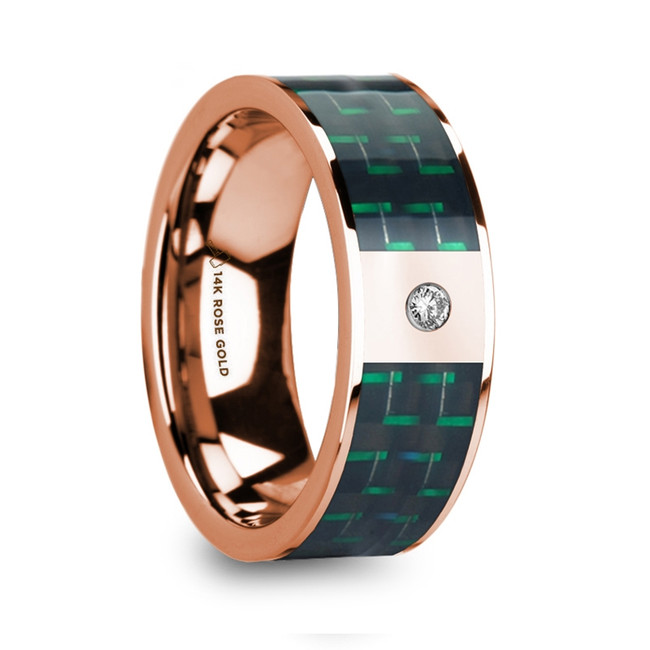 Borus 14k Rose Gold Men's Wedding Ring with Black & Green Carbon Fiber Inlay & Diamond from Vansweden Jewelers