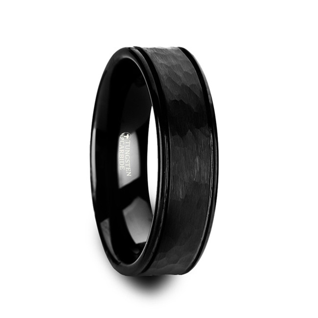 Thisbe Hammered Center Black Tungsten Carbide Grooved Wedding Band from Vansweden Jewelers