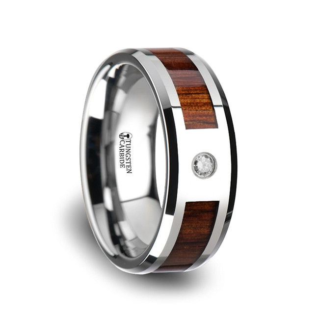 Nausithous Tungsten Carbide Beveled Edged Diamond Wedding Band with Koa Wood Inlay & Polished Edges from Vansweden Jewelers