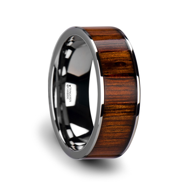 Panthous Flat Tungsten Carbide Wedding Band with Rare Koa Wood Inlay and Polished Edges from Vansweden Jewelers