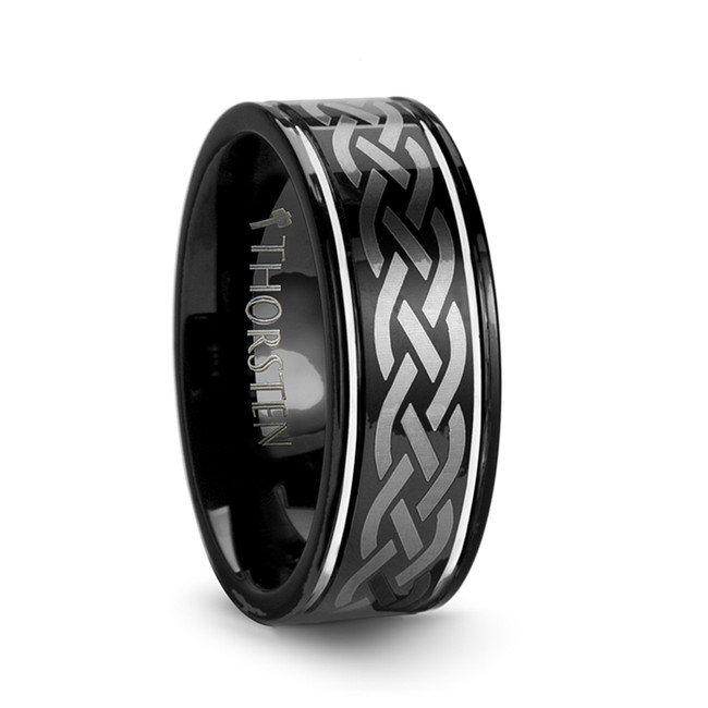 Ucalegon Black Tungsten Carbide Ring with Celtic Design from Vansweden Jewelers