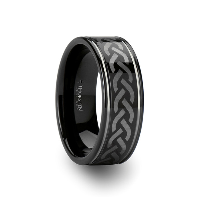 Metioche Celtic Pattern Black Tungsten Carbide Ring from Vansweden Jewelers