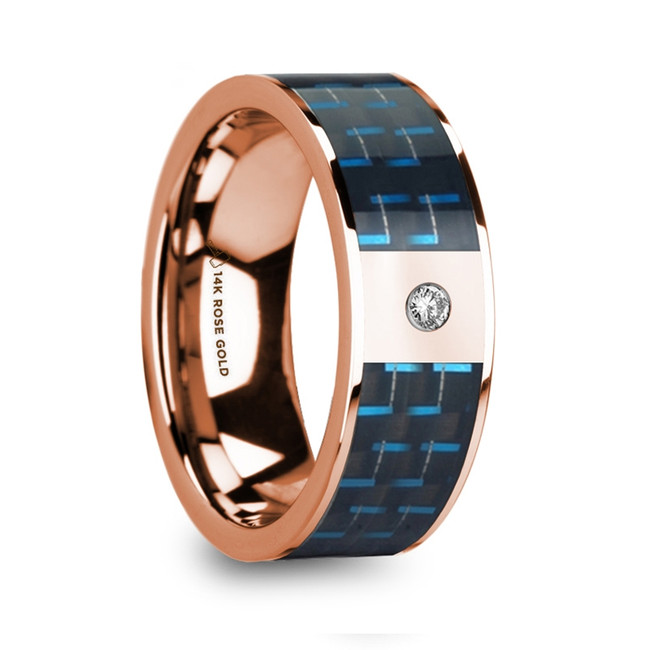 Hero Polished 14k Rose Gold Diamond Wedding Ring with Blue & Black Carbon Fiber Inlay from Vansweden Jewelers