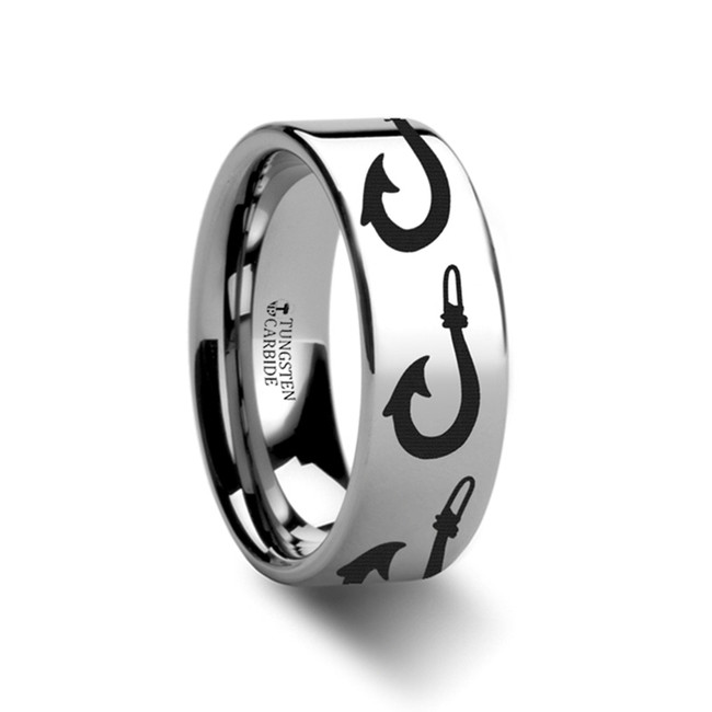 Themisto Polynesian Fishing Hook Pattern Engraved Flat Tungsten Ring from Vansweden Jewelers