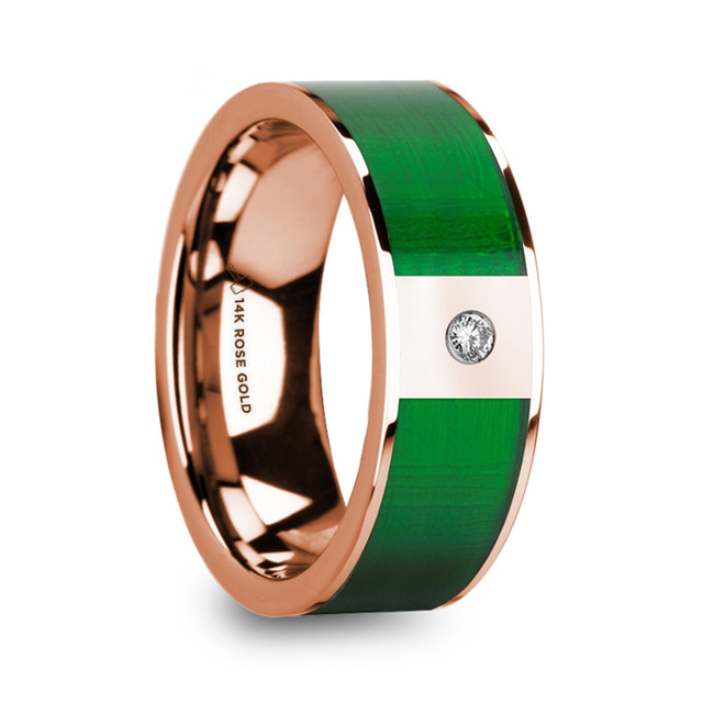 Demonassa 14k Rose Gold Men's Wedding Ring with Green Inlay and Diamond from Vansweden Jewelers