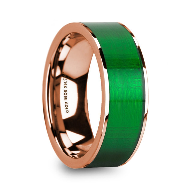 Phyleus Polished 14k Rose Gold Men's Wedding Ring with Textured Green Inlay from Vansweden Jewelers