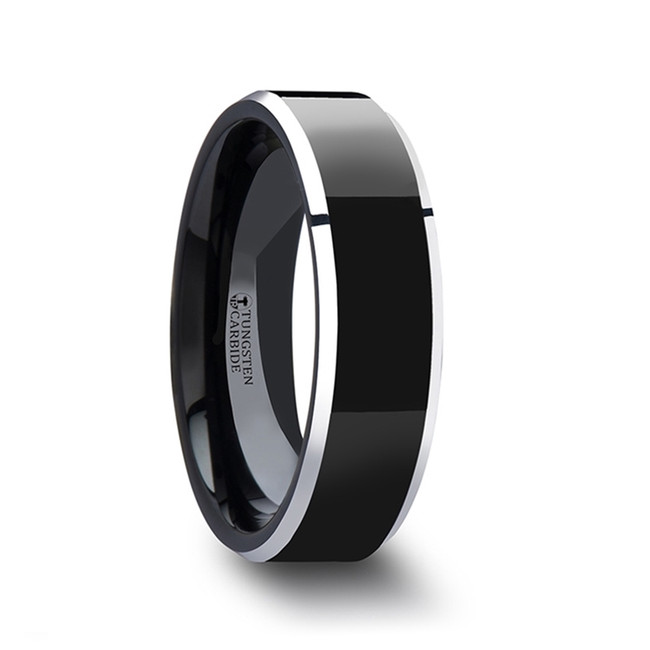 Nyctimene Polished Center Black Tungsten Carbide Ring with Metallic Beveled Edges from Vansweden Jewelers