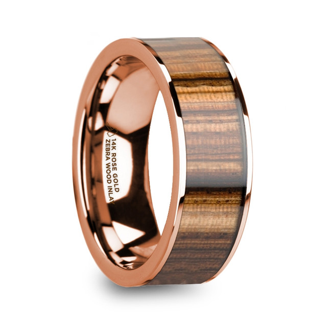 Perimede Men's Polished 14k Rose Gold & Zebra Wood Inlay Flat Wedding Ring from Vansweden Jewelers