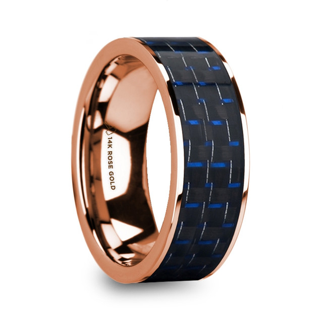 Plexippus Blue & Black Carbon Fiber Inlaid Polished 14k Rose Gold Men's Flat Wedding Ring from Vansweden Jewelers
