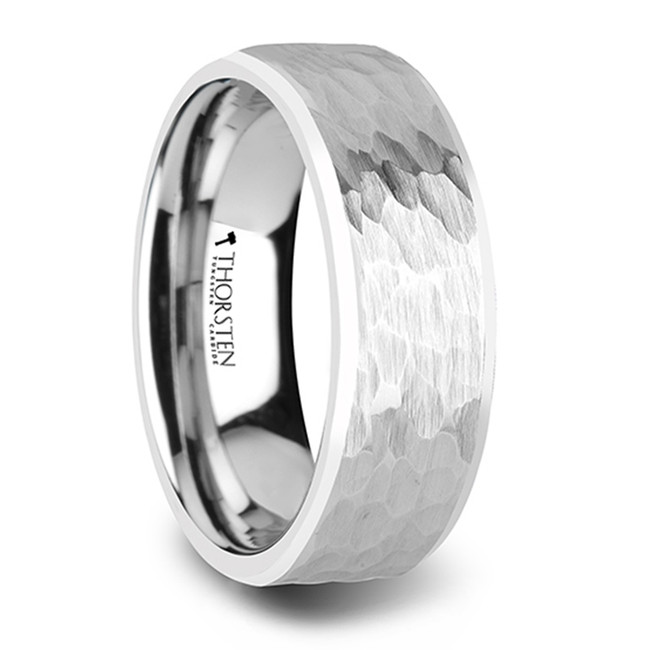 Melantho White Tungsten Ring with Hammered Finish and Polished Bevels from Vansweden Jewelers