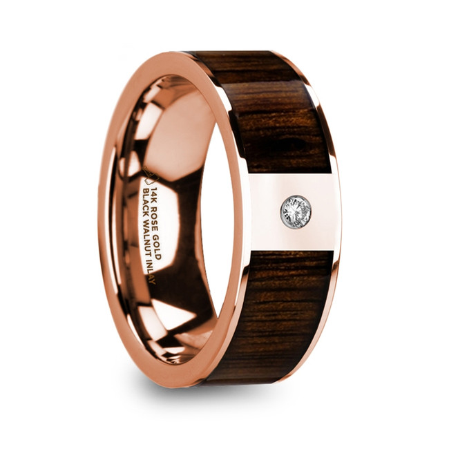 Phrastor Men's Polished 14k Rose Gold & Black Walnut Inlay Wedding Ring with Diamond from Vansweden Jewelers