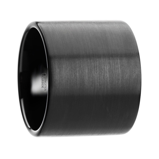 Rhoeo Flat Pipe Cut Black Tungsten Carbide Ring with Brushed Finish from Vansweden Jewelers