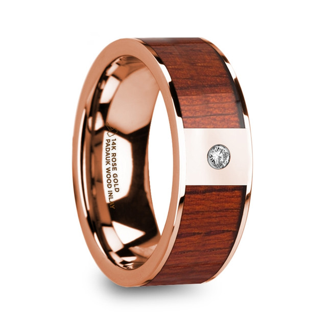 Rhadine Men's 14k Rose Gold Polished Wedding Ring with Padauk Wood Inlay & Diamond from Vansweden Jewelers