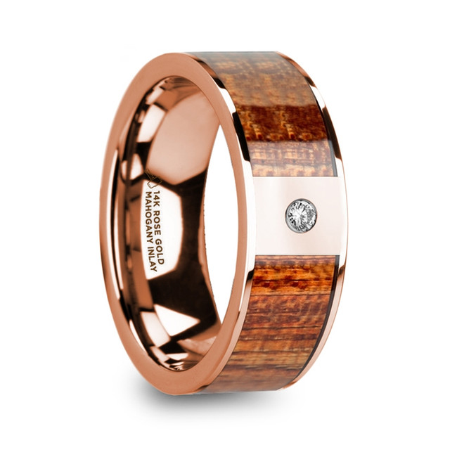 Hippolytus Men's Polished 14k Rose Gold Wedding Band with Mahogany Wood Inlay & Diamond from Vansweden Jewelers