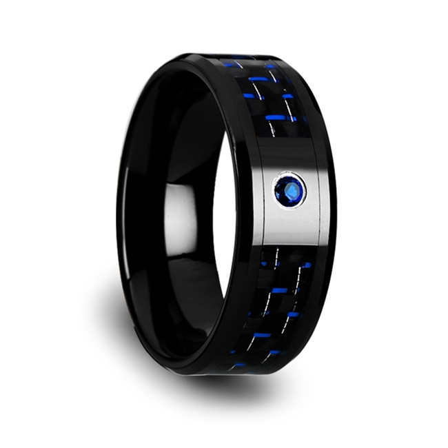 Eurycleia Black Ceramic Ring with Black and Blue Carbon Fiber and Blue Sapphire from Vansweden Jewelers