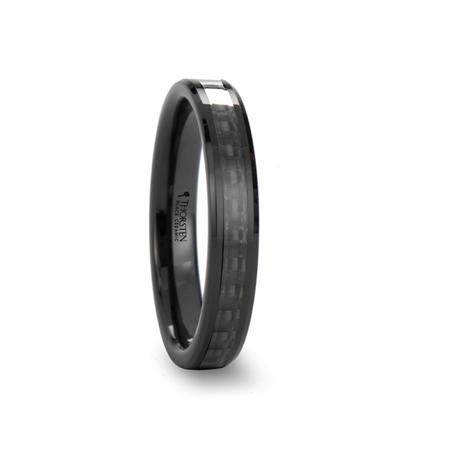Aristodemus Black Ceramic Ring with Black Carbon Fiber Inlay and Beveled Edges from Vansweden Jewelers