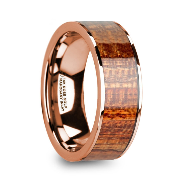 Alope 14k Rose Gold & Mahogany Wood Inlaid Men's Wedding Band with Polished Finish from Vansweden Jewelers