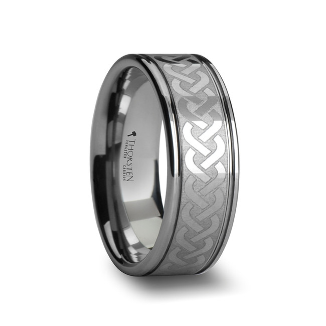 Chione Tungsten Carbide Ring with Celtic Knot Pattern from Vansweden Jewelers