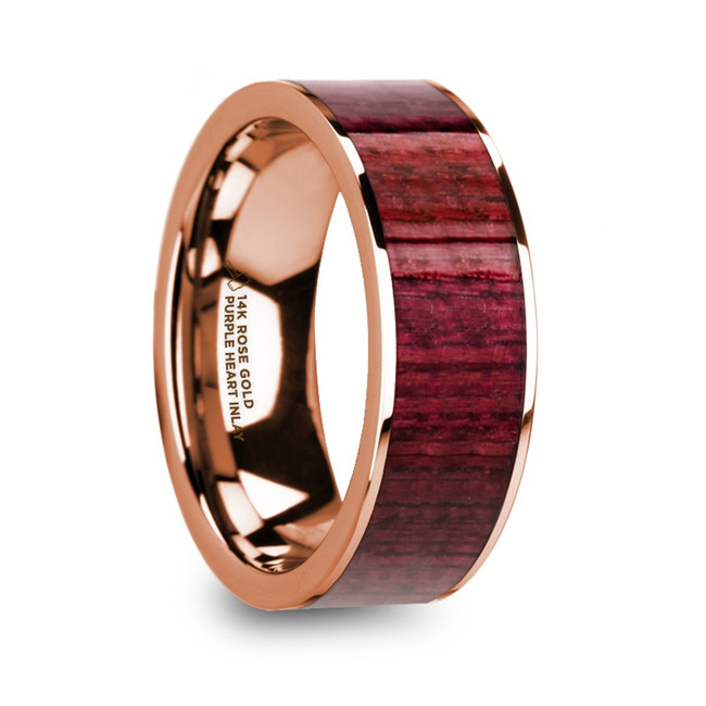 Myrmidon Purpleheart Inlaid 14k Rose Gold Men's Wedding Band with Polished Finish from Vansweden Jewelers