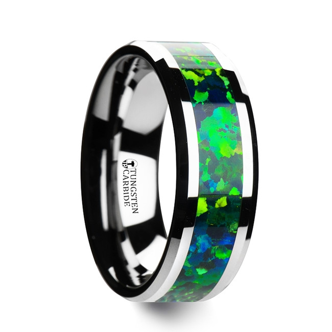 Lysianassa Tungsten Wedding Band with Beveled Edges and Green Blue Opal Inlay from Vansweden Jewelers