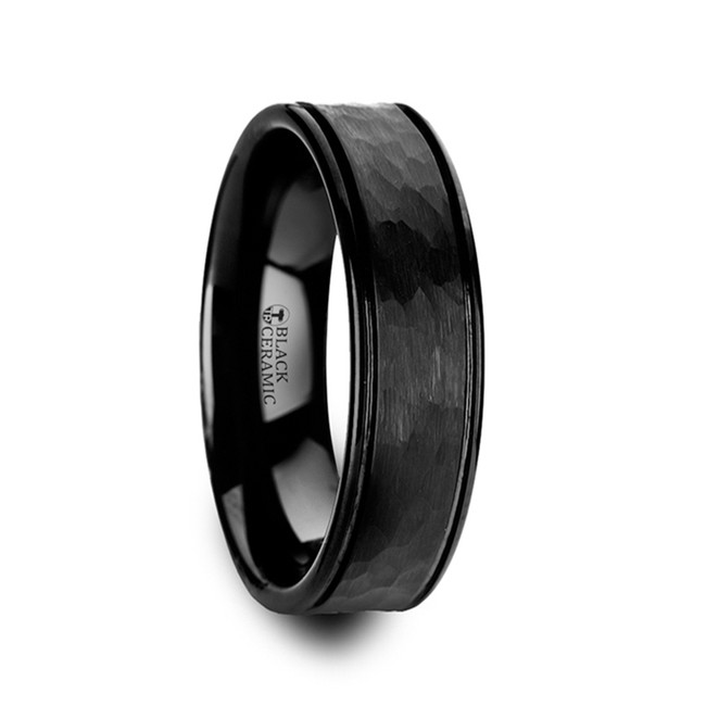 Chaos Hammered Finish Center Black Ceramic Wedding Band with Dual Offset Grooves and Polished Edges from Vansweden Jewelers