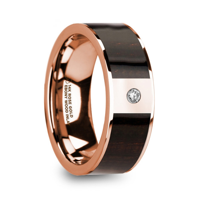 Crius 14k Rose Gold Men's Wedding Band with Ebony Wood Inlay and Diamond from Vansweden Jewelers