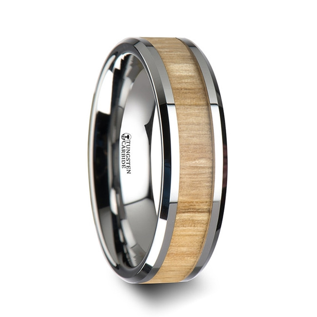 Lupe Tungsten Ring with Polished Bevels and Ash Wood Inlay from Vansweden Jewelers