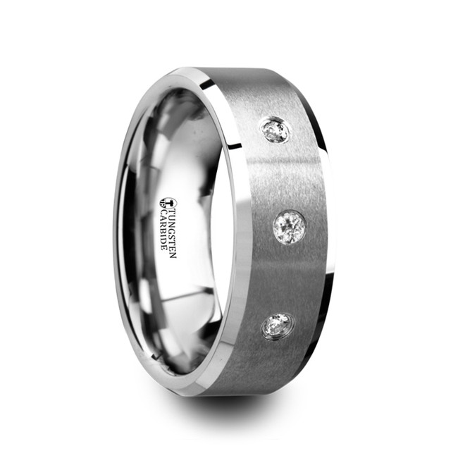 Phanes Satin Finish Tungsten Carbide Wedding Band with 3 White Diamonds from Vansweden Jewelers