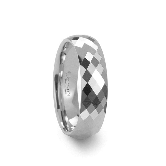 Heimarmene 288 Diamond Faceted White Tungsten Carbide Ring from Vansweden Jewelers