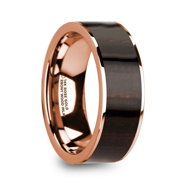 Mnemosyne 14k Rose Gold Men's Wedding Band with Ebony Wood Inlay from Vansweden Jewelers