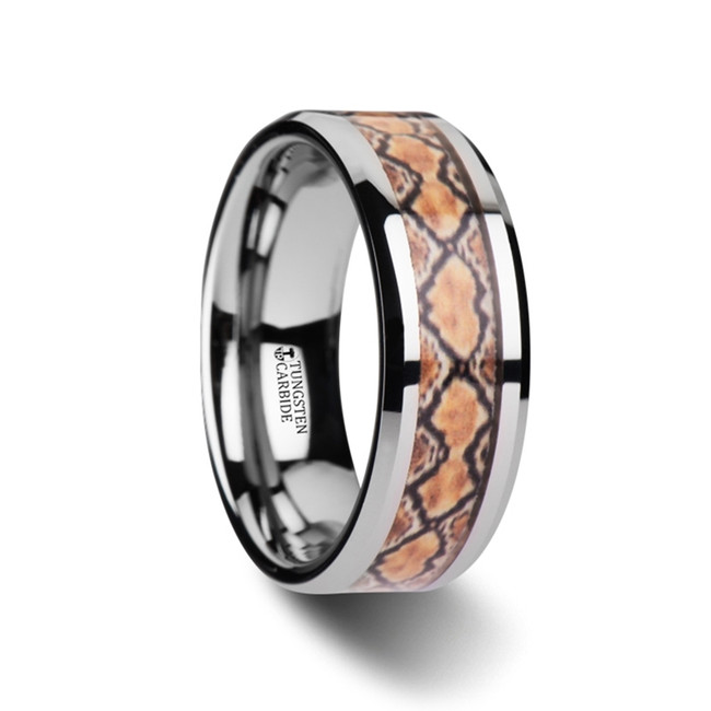 Geryon Tungsten Wedding Ring with Boa Snake Skin Design Inlay from Vansweden Jewelers