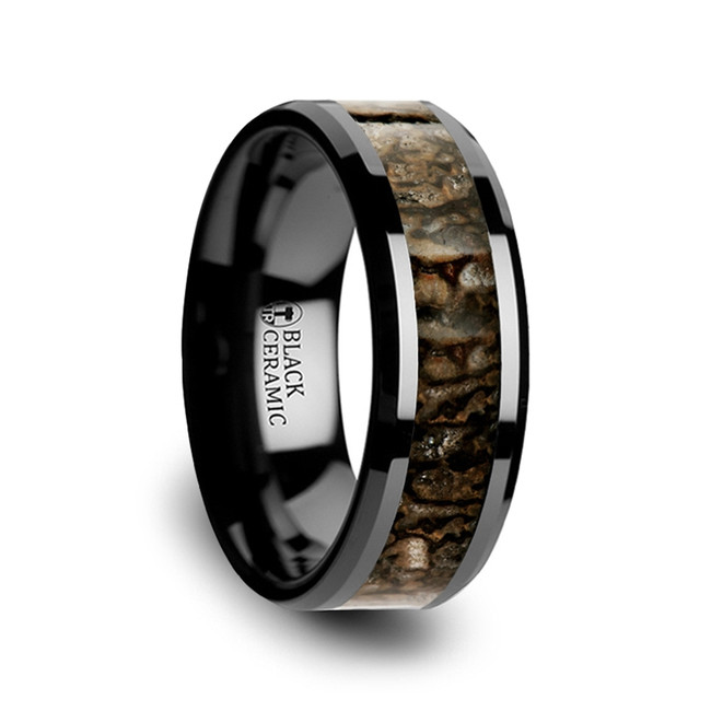 Rhea Black Ceramic Wedding Band with Dinosaur Bone Inlay from Vansweden Jewelers