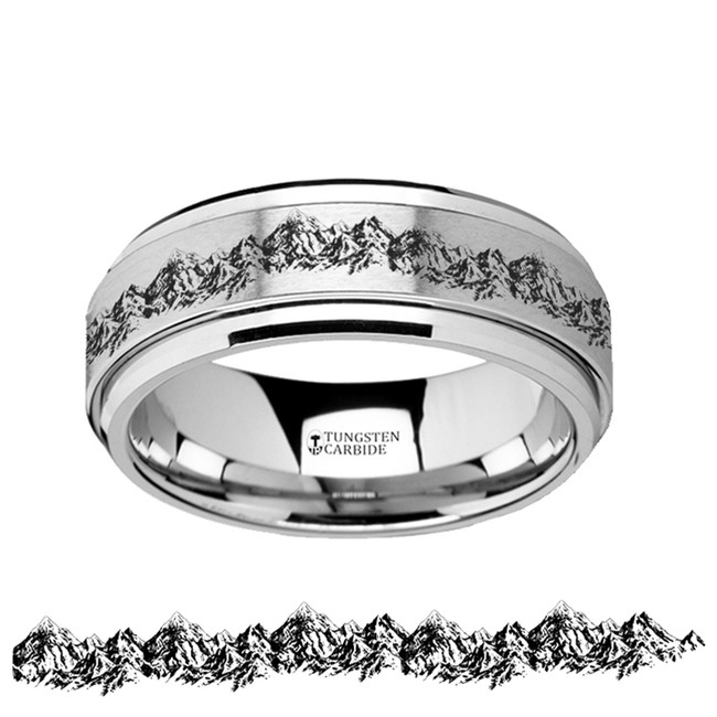 Themis Spinning Engraved Mountain Range Tungsten Carbide Spinner Wedding Band from Vansweden Jewelers