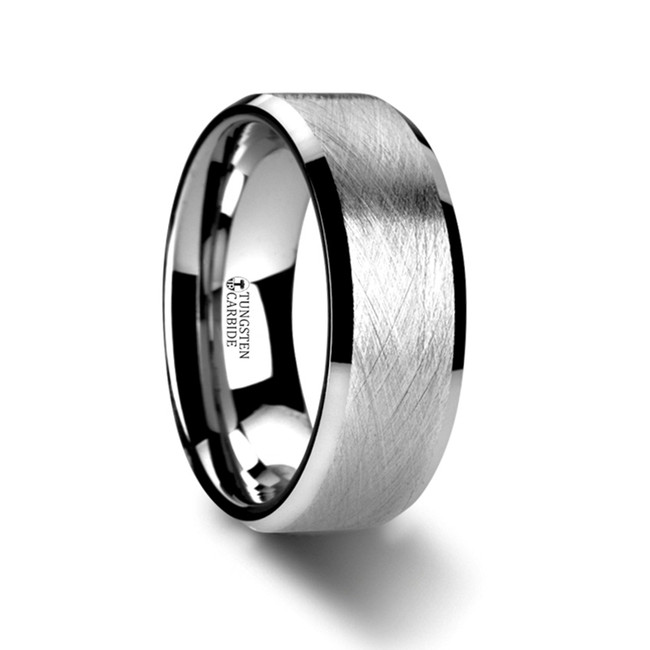 Prometheus Flat Tungsten Carbide Ring with Wire Brushed Finish and Beveled Edges from Vansweden Jewelers
