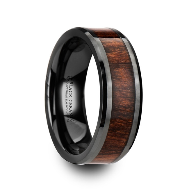Helios Black Ceramic Ring with Carpathian Wood Inlay from Vansweden Jewelers