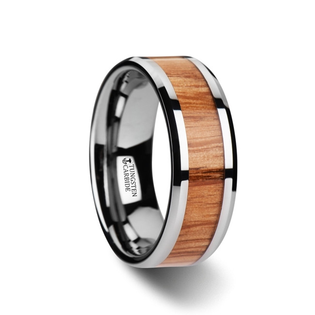 Eurynome Red Oak Wood Inlaid Tungsten Carbide Ring with Bevels from Vansweden Jewelers